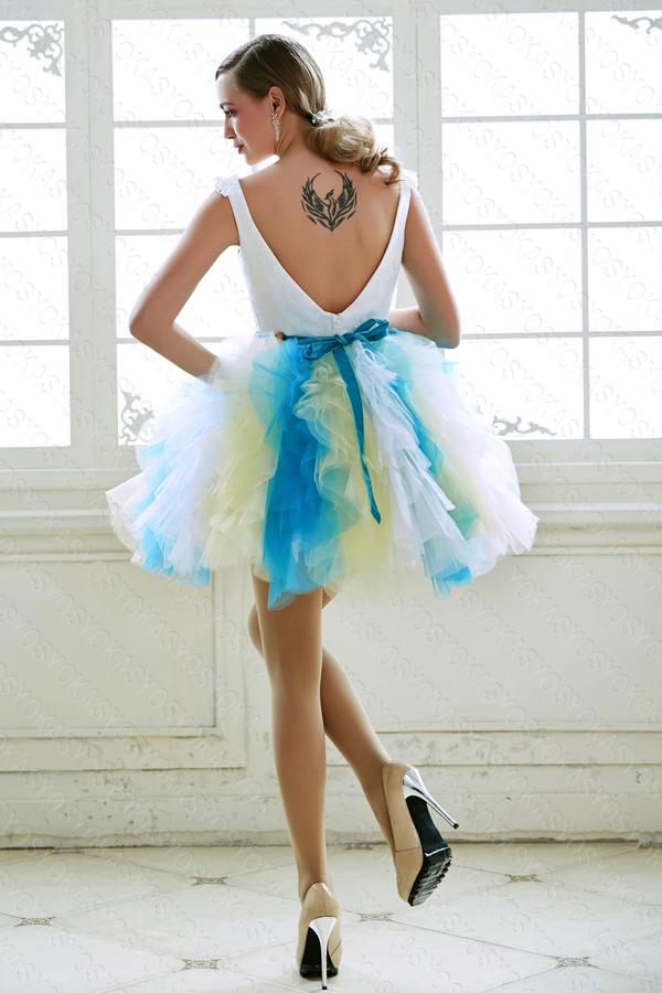 ミニ丈みずいろのトロピカルカラードレス